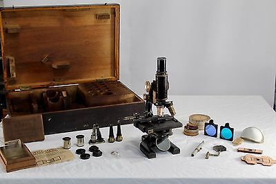 ANTIQUE SPENCER BUFFALO USA MICROSCOPE with ACCESSORIES CASE