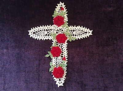 New Hand Crocheted Doily --Cross with Red Roses--