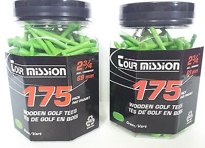 300 Pack Of Green Tour Mission Wooden Golf Tees (2x packs of 175) 69mm
