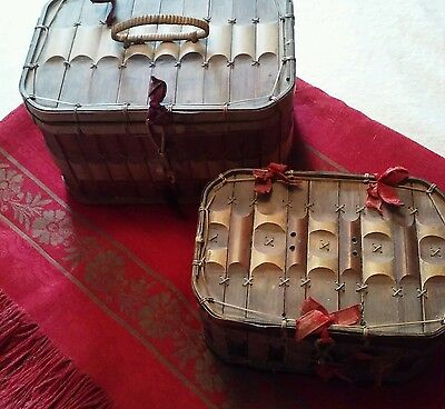2 Antique Asian Bamboo Baskets