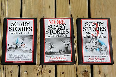 Set of 3 Original Edition Paperback Scary Stories to Tell in the Dark Books