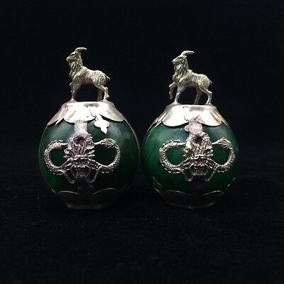 A pair of collecting green jade, Tibetan silver hand carved statue of sheep