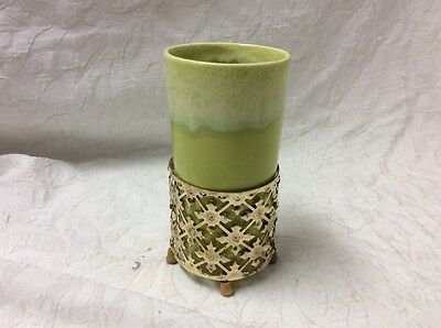 California Pottery Chartreuse Green Drip Glaze.   Tumbler With Cage