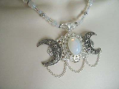 Opalite Triple Moon Necklace, wiccan pagan wicca goddess witchcraft witch magic