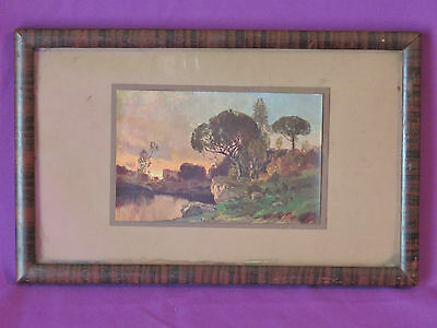 Wooded Antique Primitive Tiger Wood Picture Frame 6 x 10 with picture