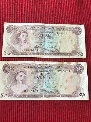 Lot of 2: 1965 Fifty Cents Bahamas Government Notes