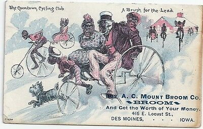 Victorian Trade Card: 1890: Black Americana: A.c. Broom Company: Coontown Cycle