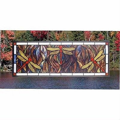 Stained Glass Window panel dragonfly trio
