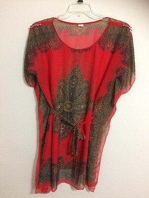 Vintage Boho 100% Silk Red Paisley Belted Top Sheer Tunic - Size L