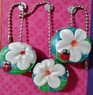 Set of three-3 lamp/ceiling fan pulls clay art  ladybug w/ White flowers sparkly