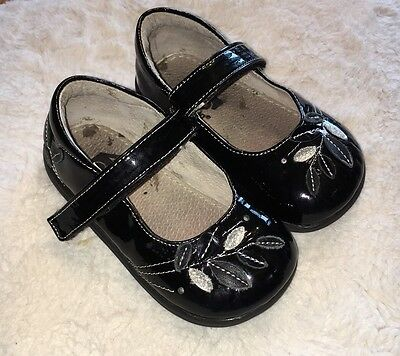 SEE KAI RUN Mary Janes Black Flower Dress Shoes Toddler Girls' Size 7