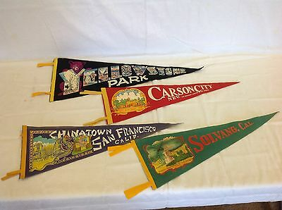 Vintage Travel Pennants Lot Of 4 - 50'S - 60'S