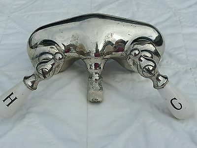 Vtg WOLVERINE Claw Foot Tub Chrome Plated Brass Bath Faucet Porcelain Handles