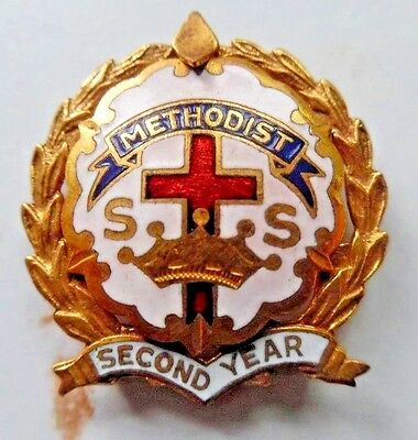 Methodist S.S. Second Year Gold Plated Little System Cross Lapel Pin