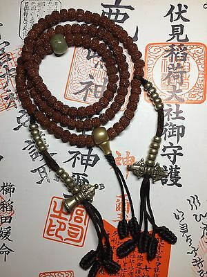 Old Chinese Tibetan Indian Rudraksha 6 mukhi faces mala prayer 108 beads jade
