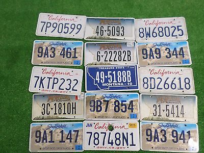 """Lot Of 15 Mixed States License Plates """"mixed State Roadkill""""   (Msrk13)"""
