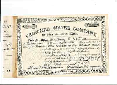 1948 Frontier Water Company, Fort Fairfield, Maine Stock Docs