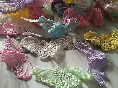 20Pcs Mix Colour Butterfly Organza Lace Embroidery Appliques Sewing Trim DIY