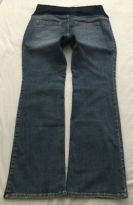 Women's Old Navy Maternity Jeans Elastic Waistband Boot Cut Stretch Size L Long