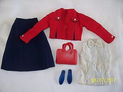 Vintage Remco Littlechap Judy's 3 Piece Suit* Navy Shoes*Red Tote Bag #1102