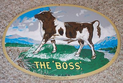 """RARE Vintage Original Advertising Sign """"THE BOSS"""" Russell Tractor Steam Thresher"""
