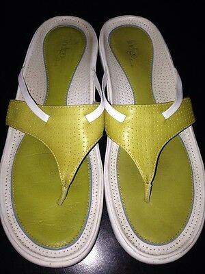 Clarks INDIGO~Leather Womens Shoes White Green Mules Flip Flops Sandals 11 M 10