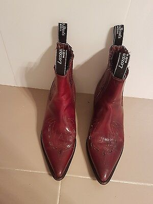 western vintage cowboy red leather riding boots boho festival 41
