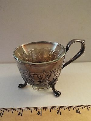 vintage antique silver footed cup holder w/ glass-RARE-sterling? silverplate?