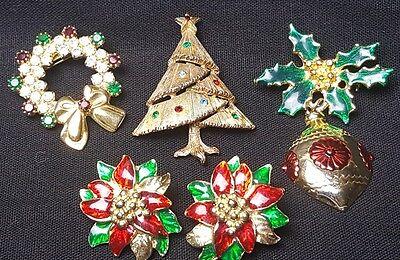 Mixed 5 piece Vintage Christmas Holiday Lot of Brooches & Earrings