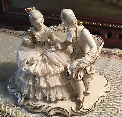 Antique Dresden Art Lace Figurine Romantic Couple on Love Seat made in  Germany