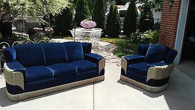 Vintage 1940's Art Deco Velvet Mohair Royal Blue and Tan Couch & Chair Furniture