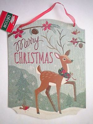 "Glittery Wooden ""merry Christmas"" Reindeer Christmas Hanging Sign"