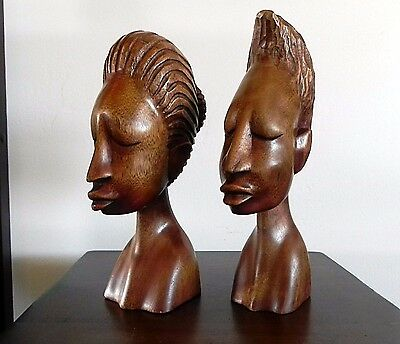 Hand Carved Wood AFRICAN HEAD BUST SCULPTURES MAN & WOMAN 9""