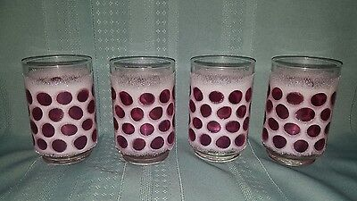 """Set of 4 Vintage Libbey """"Cranberry Concord"""" Glasses-Frosted w/Polka Dots"""