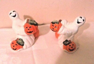 Fitz and & Floyd Halloween Pumpkin Ghosts candleholder pair New in box