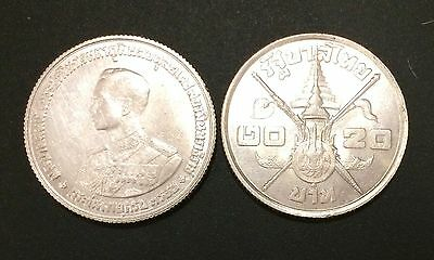 Thailand Siam Silver Coin 20 Baht COMM 36th Birthday King Rama IX ND 1963 UNC.