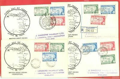 Trinidad Dominica Barbados ++ WEST INDIAN FEDERATION 8 Diff FDC Cover 1958