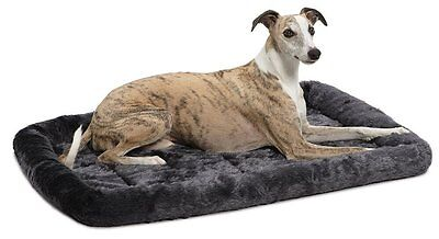 MidWest QuiteTime DELUXE BOLSTER MAT Dog Pet Crate GREY -122x76x10cm