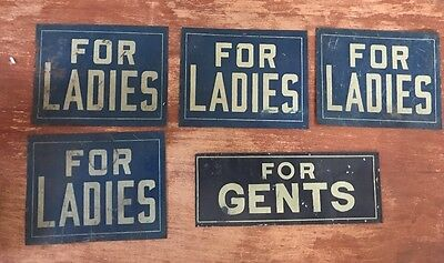 Vintage Lot 5 FOR GENTS FOR LADIES Metal Bathroom Departments Store Sign Antique