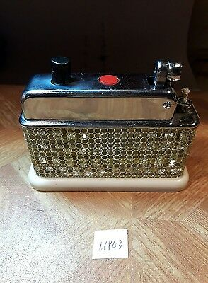 Old Table petrol lighter UP43 ~ Barclay art deco double button chromed serviced