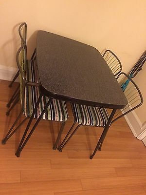 Mid Century Modern Vintage Dining Table and Four Chairs
