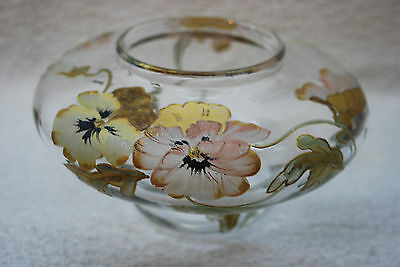 Beautiful Victorian Heavily Decorated Art Glass Squat Vase 1880's - 1910