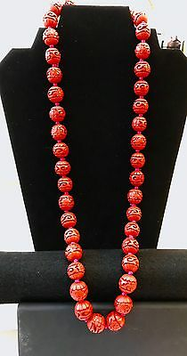 Antique Chinese Carved Cinnabar Bead Necklace