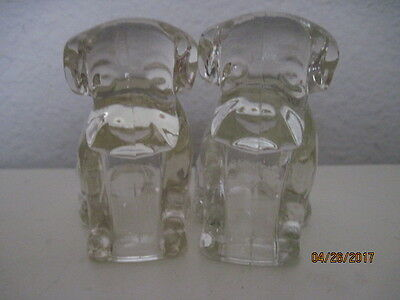2 Vintage Glass Dog Candy Containers