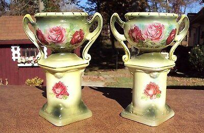 C. 1900 Pair of Porcelain Urns - Marked only Austria