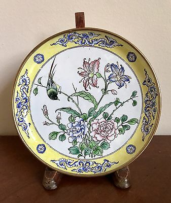 Antique Chinese Famille Rose Floral Bird and Butterfly Enamel Plate