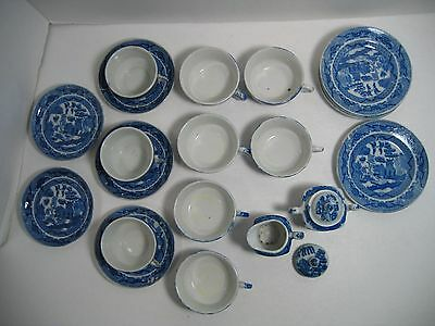 vintage BLUE WILLOW Child Tea Set Dishes 23 Pieces Made in Japan