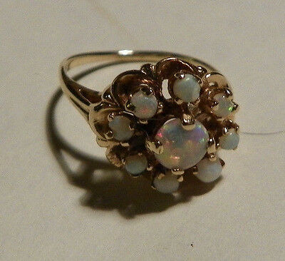 Vintage 10K Yellow Gold Opal Cluster Ring