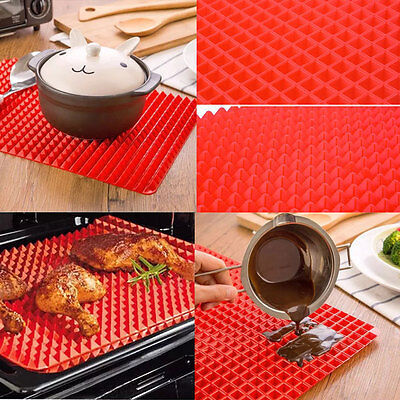 Pyramid Non Stick Fat Reducing Silicone Cooking Mat Baking Tray Sheets 17x17cm