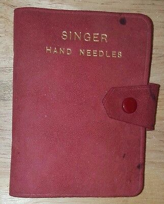 RARE ANTIQUE SINGER SEWING MACHINE CO HAND NEEDLES Red Leather Snap Case England
